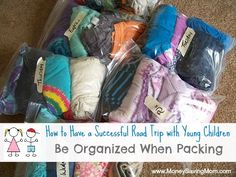 How to have a successful road trip with young children... be organized when packing!