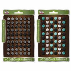 "The Board Dudes Decorative Thumb Push Pins, Metal, Assorted, 1/2"", 60/Set BDU14575AA36"