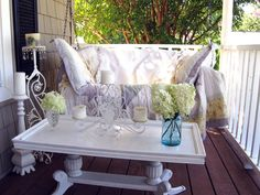 Reuse existing furniture to make the perfect outdoor entertaining table