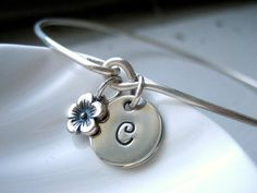 Silver Initial  & Flower Bangle Bracelet - Hand Stamped Charm - Sterling Silver Bangle - Custom Personalized on Etsy, $31.00