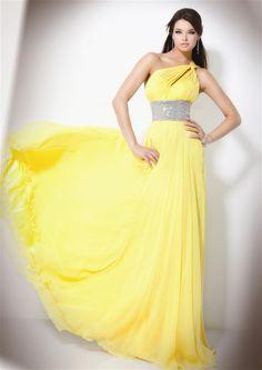 Modelos de Vestidos de Fiesta largos de color Amarillo Gown, attire,evening dress,night dress
