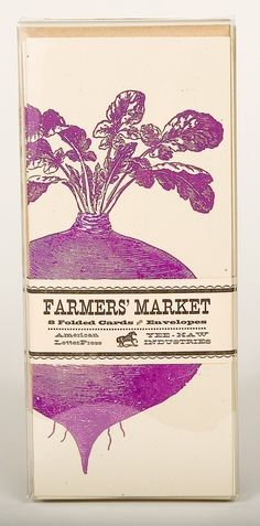 BEET GREETING CARDS Farmers Market Letterpress Card Pack by YeeHaw