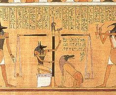 The Egyptian Book Of The Dead.  The text consists of a number of magic spells intended to assist a dead person's journey through the Duat, or underworld, and into the afterlife.     There was no one definitive book, all were different, carrying variations of 192 known spells.  The Book of the Dead was placed in the coffin or burial chamber of the deceased.  It was painted on objects or walls, not papyrus.