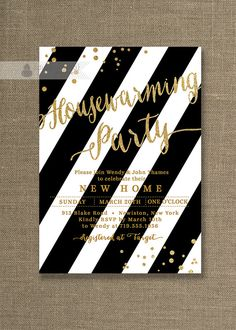 Gold Glitter Housewarming Party Invitation Black & White Stripe Modern Gatsby Confetti House Warming Printable Digital or Printed - Wendy