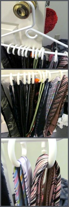 Using shower curtain rings to organize and hang ties and belts
