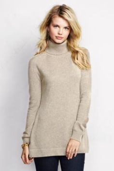 Women's Year Round Cashmere Easy Turtleneck Tunic Sweater from Lands' End/want this in black.