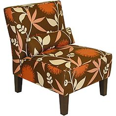 @Overstock - Sleek and contemporary, this Sara armless chair features a comfy, thickly padded seat and back. This chair is upholstered in colorful cotton fabric.http://www.overstock.com/Home-Garden/Sara-Polly-Brown-Armless-Chair/5509451/product.html?CID=214117 $256.19