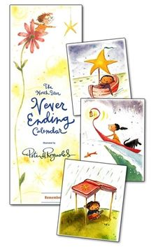 """Never forget another special day! Our treasured North Star Never Ending Calendar is PERPETUAL, so you can turn to this calendar year after year to see the birthdays and anniversaries of the wonderful people in your life. A perfect gift for teachers, family, and friends, this elegant calendar features 13 unique watercolor illustrations by New York Times best-selling author and illustrator Peter H. Reynolds. Size: 4"""" x 18"""" Calendar available for $12.99. © 2001 FableVision Learning, LLC"""