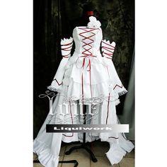 White Goth Tea Length Pandora Hearts Cosplay Wedding Dresses Costumes