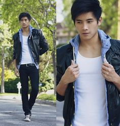 Denim hoodie by Hollister, Leather jacket by Sav-Mor Thrift.