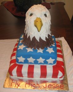 "Eagle Scout Cake. (Eagle made out of rice krispie treats and covered in fondant ""feathers"".) By Charlene Owens"