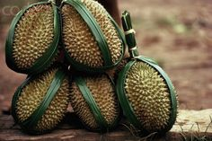 Durian Fruit Wrapped in Palm Fiber