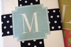 monogram gift, gift wrap, christma