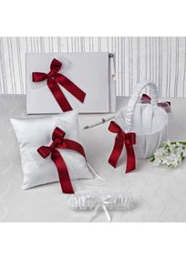 "Constructed of a smooth white satin base, this classy guest book/pen combo, flower girl basket and matching ring pillow is accented with layered organza ribbon and satin ribbon in your choice of one of David's Exclusive colors. Comes complete with a white satin garter.  Features and Facts:  Gift set included flower girl basket, ring pillow, guest book/pen combo and garter.  Basket is 8"" tall, basket part is 5.5"" wide.  Garter measures approx 13"" around.  Pillow is 7"" square.  Book is 9.5"" x 6..."