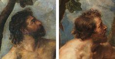 Diferencia nº 3 entre el original de Tiziano y la copia de Rubens: LA CARA DE ADÁN Del post http://harteconhache.blogspot.com.es/2013/07/las-siete-diferencias-entre-tiziano-y.html