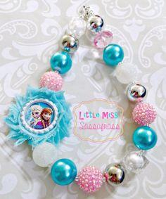 Frozen Elsa & Anna Chunky Bubblegum Necklace by lilmisssassafras, $18.00