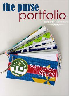 purse portfolio - home info: paint swatches, room measurements, etc. to go
