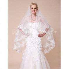 One-tier Cathedral Wedding Veils With Lace Applique Edge