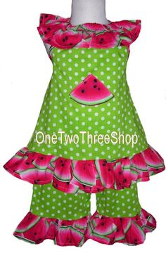 Casual Wear Pageant Outfits | Custom Boutique Clothing Watermelon Pageant Casual Set by amacim