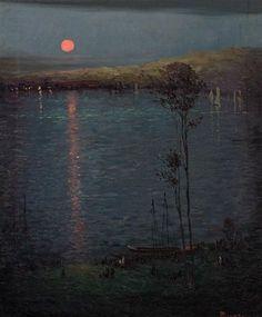 ღ landscap art, moon, lake 1907, lakes, leon dabo