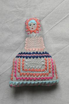 Handmade fabric embroidered doll  ESZTERDA
