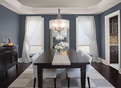 Potential whole house neutral -861 shale is on this ceiling  Blue Dining Room Ideas - Glamorous Gray-Blue Dining Room - Paint Color Schemes