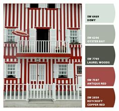 cool light blue reds stripes parisian kitchen sophisticated european modern scheme palette subdued hues tones muted grey gray charcoal burgundy brick office dining room den basement branding marketing Paint colors from #ChipIt! by #Sherwin-Williams costa nova, red, candies, candy canes, hous, homes, stripes, portugal, place