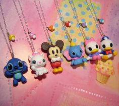 Disney Chibi Charms - Stitch, Marie, Mickey, Dumbo, Daisy,  Donald chibi charm, cats, polymer clay charms disney, clays, necklac, stitch, polym clay, blues, disney characters