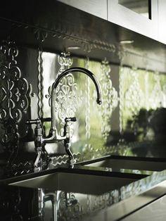 kitchens, decor, back splashes, color design, tin tiles