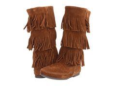 Minnetonka Calf Hi 3-Layer Fringe Boot Dusty Brown Suede - Zappos.com $93