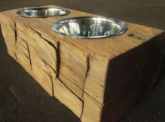 So awesome! Rustic dog bowl.
