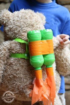 This is a ton of fun!!  Make a doll rocket backpack for your kids toy, using bottles. bear, craft kids, kid lunches, kid activities, kids toys