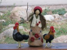 Needle felted girl with rooster's waldorf inspired