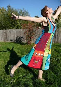 Rainbow Upcycled Tshirt Dress. via Etsy.