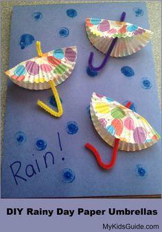 Frugal April Fun Craft for Kids: DIY Rainy Day Paper Umbrellas cupcake liners, kids diy, april crafts, paper umbrella, weather crafts, spring crafts, preschool, april showers, rainy day crafts