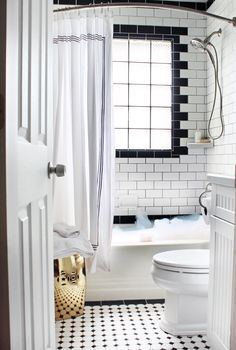 Black & White Tile | Window in Shower | Garden Stool in Small Bathroom