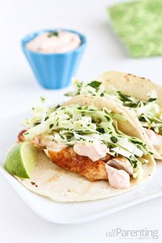 Tilapia soft tacos with honey-lime slaw #recipe