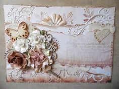 Swirls & Pearls - Scrapbook.com- an elegant card made with torn paper, ribbon, flowers and pearls