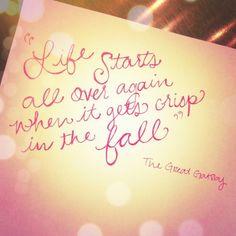 books, quotes, seasons, autumn, gatsbi, fall time, inspir, the great, life start