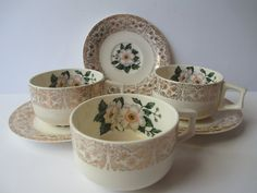 Vintage Dogwood Green White Gold Teacups & Saucers by thechinagirl, $22.50