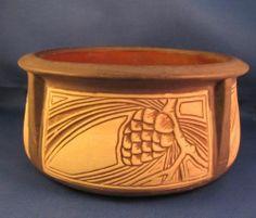 Weller Art Pottery Pinewood Jardinere Flower Pot http://www.morninggloryantiquescollect.com/