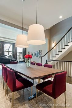 A modern take on a dining room. A neat rectangular table accented with burgundy velvet chairs. Chicago, IL Coldwell Banker Residential Brokerage tabl accent, residenti brokerag, dine room, burgundi velvet, coldwell banker, decad dine, banker residenti, rectangular tabl, coldwel banker