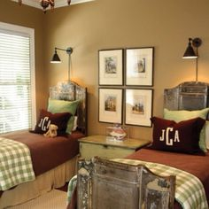 Monogram pillows, beds..great boys room!