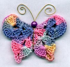 Mary G's Butterfly Pins - free crochet pattern