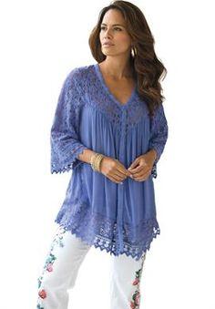 Lace Bigshirt | Plus Size Shirts and Blouses | Roamans