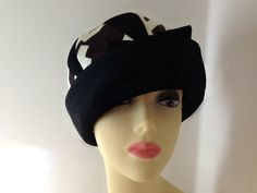 Vintage 1950s Abstract Womens Hat  Brown Black by KariKandCompany, $30.00