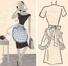 Plaid vintage ruffled apron pattern