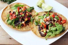 Grilled Portobello Mushroom Tacos w/ Mango Black Bean Salsa  #gluten_free #vegan #bell_pepper #jalapeno #arugula #green_onion #lime #cilantro #avocado #tomato #radish #olive
