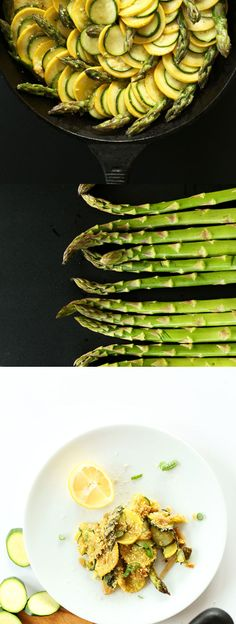 Vegan Zucchini Asparagus Gratin with Vegan Parmesan Cheese! #vegan #glutenfree | minimalistbaker.com