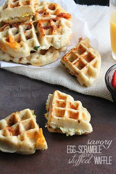 Savory Egg-Scramble Stuffed Waffles - These are a million times better than your average breakfast waffle. They're packed full of a complete breakfast! www.happyfoodhealthylife.com #breakfast #savory